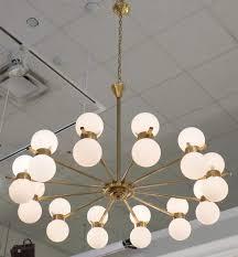 stilnovo vintage brass glass globe chandelier style twelve arm jean marc fray clear light shades for
