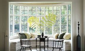 furniture for bay window. Rounded Bay Window Home Decorating With Various Pillows And Black Chairs Tables Indoor Plant Furniture For Y