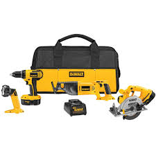 dewalt 18v tools. dewalt 18-volt nicd cordless combo kit (4-tool) with (2) batteries 1.2ah, 1-hour charger and contractor bag-dc4ckita - the home depot dewalt 18v tools