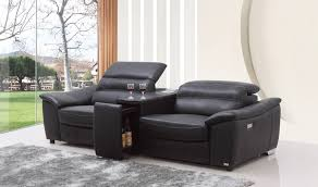 Wine Cabinet Black Casa Donovan Modern Black Italian Leather Recliner Sofa With Wine