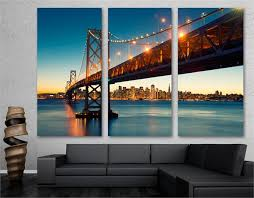 Get all the best san francisco giants wall decor here at the mlb shop. Bay Bridge Wall Art Canvas Print San Francisco 3 Panel Split Triptych Canvas Quest