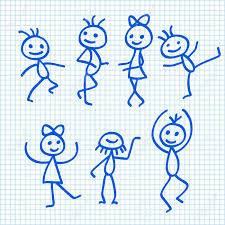 cartoon dancing people on exercise book paper sheet stock vector 31590385