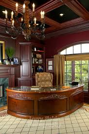 elegant office. Elegant Office With Walnut Paneled Walls And Coffered Ceiling. Traditional-home-office