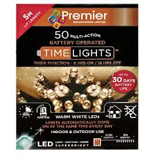 Timer 5m Battery Operated Warm White 50 Led Timer Lights 5m Indoor Outdoor