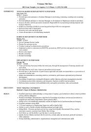 Department Supervisor Resume Samples Velvet Jobs