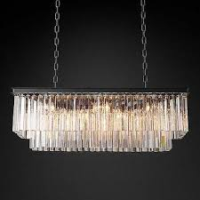 1920s odeon clear glass fringe rectangular chandelier