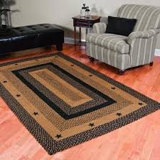 ihf home decor braided area rug rectangle 20 inch x 30 inch star black design jute