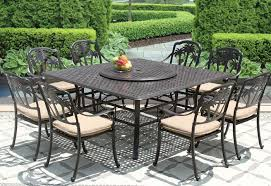 palm tree cast aluminum outdoor patio 9pc set 8 dining chairs 64 inch square table