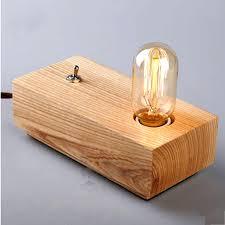 vintage loft bulbs wooden shade handmade wood led night table lamp desk lighting modern light decor