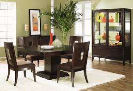 Dark Wood Finish Modern Dining Room WOptional Items - Dark wood dining room tables