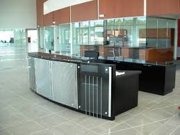 reception desk with metal and glass panels and granite transaction counter includes 12 credenza