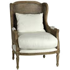 helena chair br br birch hardwood frame and legs br white cotton upholstery br antiqued hand woven cane back and wings br accent pill