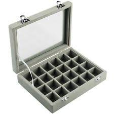 glass display box 24 grid glass jewelry watch case display storage organizer men box pocket locked