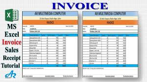 Ms Excel Invoice Ms Excel Tutorial Create An Invoice Using Microsoft Excel 2019 Sales Receipt In Ms Excel By Ar
