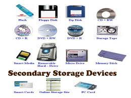 data storage devices what is a secondary storage device list different type of secondary