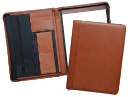 tan leather portfolio with ruled pad