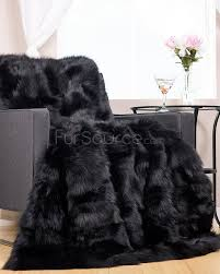 stylish and peaceful black fur rug exquisite decoration pieced black fox fur rug