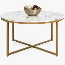 white marble coffee table best choice s 35in modern living room round