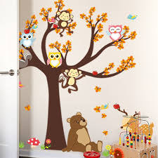 affordable cartoon forest tree branch animal owl monkey bear deer wall stickers