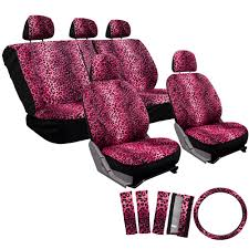 17pc leopard pink black animal print complete car seat cover set 2e