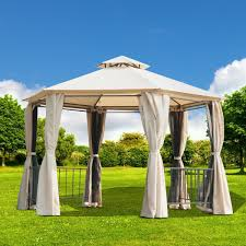 outsunny two tiered garden gazebo outdoor hexagonal canopy with removable mesh curtains sy patio sunshade shelter beige aosom com