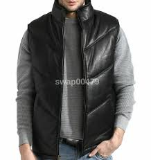 details about mens genuine leather new fashion design paded zipper front black jacket