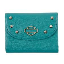harley davidson reg women s bar shield reg small leather studded wallet teal