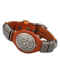 jenia flower genuine leather cuff wrap bangle bracelets adjustable men s women s jewelry orange cl12i2x0n0z
