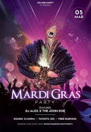 Free Mardi Gras Party Flyer Template Download Freebie Now