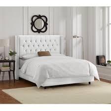 white velvet bed. Interesting Velvet Skyline Furniture White Velvet Diamond Tufted Wingback Bed Frame In Y