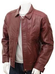 mens oxblood leather jacket rennes front