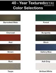 2018 Color Chart 2 Metal Wholesale Llc