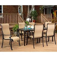 hanover brigantine 7 piece rust free aluminum outdoor patio dining set with 6 dining