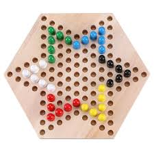 Wooden Game With Marbles Trinkets More Wooden Chinese Checkers Hexagon Board with Marbles 52