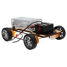 hot diy wooden electric four wheel drive science making toys