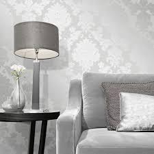 fine decor quartz damask silver glitter