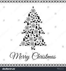 Xmas Tree Merry Christmas Card Black Stock Vector Royalty Free