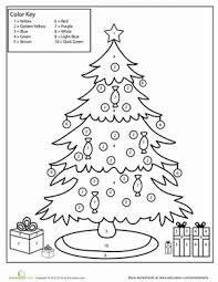 Small Picture Color by Number Christmas Tree Worksheet Educationcom
