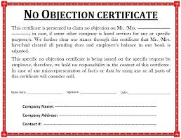 no objection certificate for employee 10 free sample no objection certificate templates printable samples