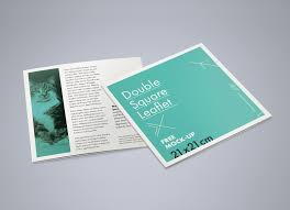 These brochures open up three times depicting the various details and comprehensible insight, each one of them can be folded effortlessly, so keep the design minimalist but all the fonts have to be readable enough. Free Square Bi Fold Brochure Mockup Psd Good Mockups