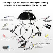 wire diagram for motorcycle demon angel headlight 49 wiring kt headlight for kawasaki ninja 300 2013 2017 led angel eye blue demon eye motorcycle hid