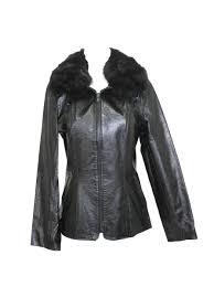 416075 new black dyed spotted fox fur trim leather jacket coat stroller xs