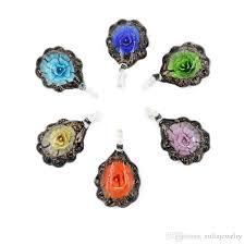 whole hot flat round lampwork glass pendants focal blown glass flower bead necklace pendants box mc0035 cute pendant necklaces diamond heart