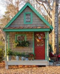 subterranean space garden backyard huts cabins sheds. Exellent Cabins Decorated Sheds With Porch  Darling Garden Shed For The Holidays   So Cute And Subterranean Space Garden Backyard Huts Cabins