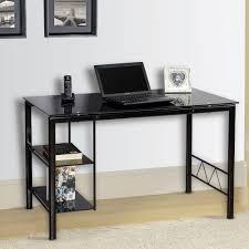 innovex black tempered glass top personal zoey desk black
