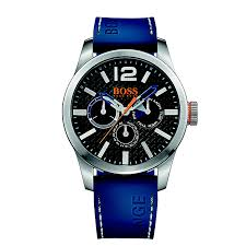 hugo boss watches boss orange watches for men h samuel hugo boss orange men s black dial blue silicone strap watch product number 3774392