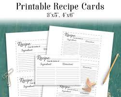 printable blank recipe cards recipe card printable blank recipe card recipe template etsy