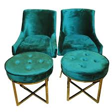 emerald green furniture. Pair Of Emerald Green Faux Velvet Chairs With Ottomans Furniture