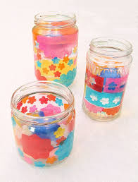 Decorating Glass Jars With Tissue Paper