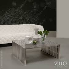 Zuo Modern Coffee Table Novel Square Coffee Table Brushed Stainless Steel 100084 Zuo